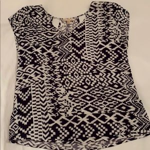 Dark Purple and White Patterned Blouse
